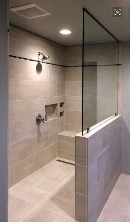 Bath Room Shower Walk In No Door Pony Wall 26 Ideas For 2019 In 2020 Bathroom Layout Bathroom Design Half Wall Shower