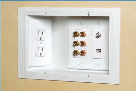 Outlet Speaker Connections Tv Jack Cat 5 All In One Location And Recessed In The Wall Make It Much Easier T Recessed Outlets Simple House Building A House