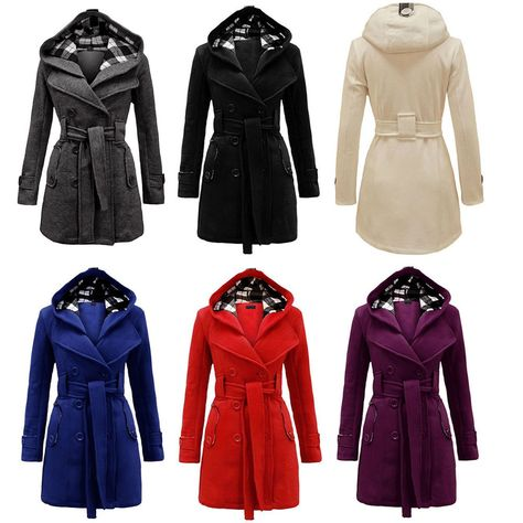 Women Warm Winter Hooded Trench Coat Wool Blends Long Jacket Outwear Parka Tops Clothing, Shoes & Accessories Women's Clothing