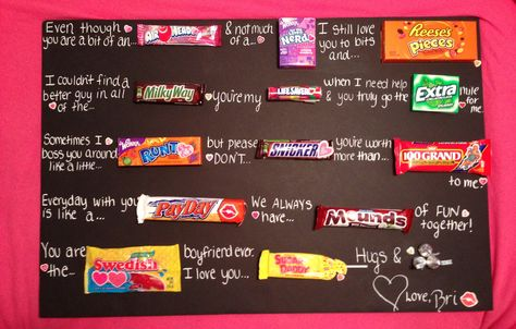Valentine's Day candy poem my sister made for her boyfriend! #candypoem #valentinesday #boyfriendgift #husbandgift #cute #diy #craft #candy