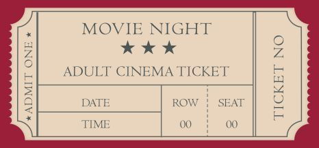 Movie Ticket Template 20 Attractive And Customized Ticket Templates Demplates Movie Ticket Template Movie Night Tickets Movie Night Box