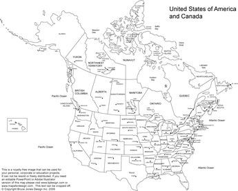 Free Printable Map Of Us And Canada US and Canada Printable Blank Map, with names, royalty free,