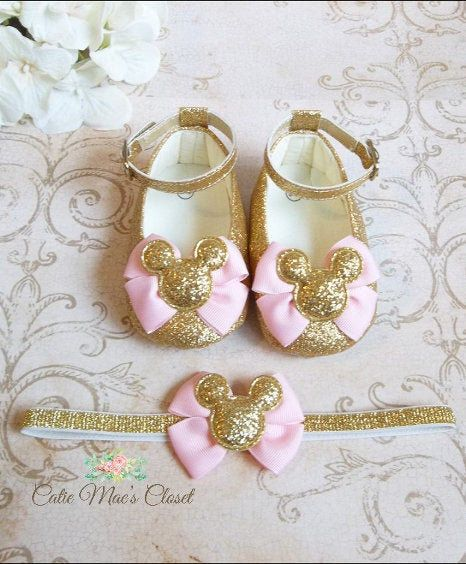 gold glitter shoes first birthday Mickey Mouse 1st birthday Minnie Mouse shoes