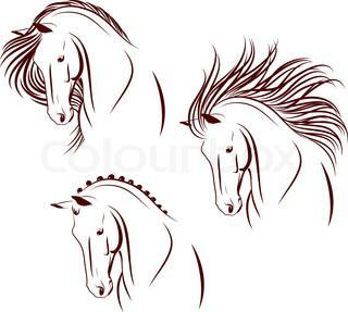 Satz Von 3 Pferde Kopfe Equitationtuto Pferdekopfe Satz Von Atlar Dovme