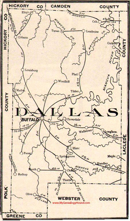Dallas County Missouri 1904 Map Buffalo Louisburg Urbana Plad