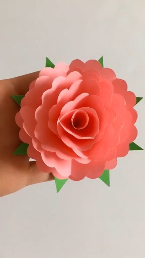 Use pink paper to make peony flower, to mother, father, yourself as a little gift! Save it, Follow us, get more exciting and the idea.