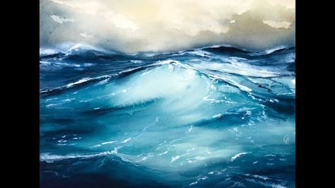Rough Ocean Water In Watercolors Painting Tutorial Youtube
