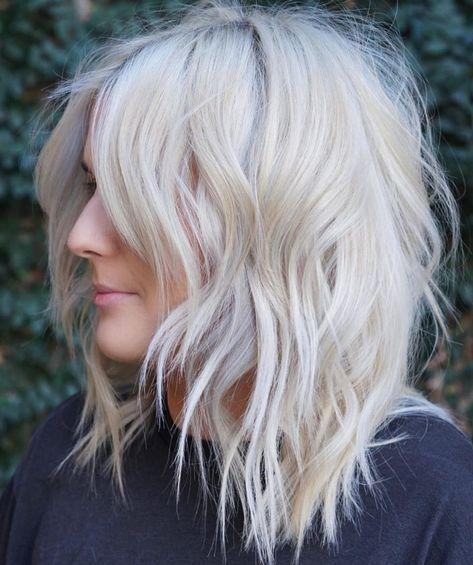 60 Most Universal Modern Shag Haircut Solutions Mid-Length Platinum Blonde Shag Medium Textured Hair, Medium Hair Cuts, Medium Hair Styles, Short Hair Styles, Modern Shag Haircut, Modern Haircuts, Hipster Hairstyles, Shag Hairstyles, Layered Hairstyles