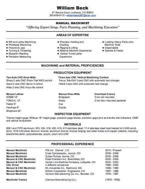 New CNC Machinist Resume Samples - http\/\/resumesdesign\/new - loss mitigation specialist sample resume