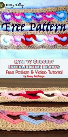 How to Crochet Interlocking Hearts [Free Pattern and Video Tutorial] - blanket pattern, heart afghan pattern, linked hearts blanket pattern, with all my heart - ONLY FREE crocheting patterns for Amigurumi, Toys, Afghans, Baby Blankets, New Stitches and Tutorials and many more! #freecrochetpatterns #hearts