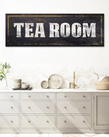 Tea Room Vintage Sign Canvas Wall Art Antique Sign Wall Decor