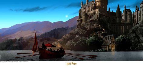 Harry Potter Journey to Hogwarts Stuart Craig SIGNED Warner Brothers Giclee on Paper Limited Ed of 500
