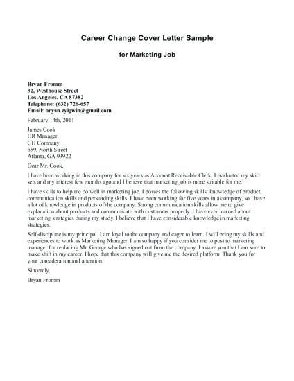 Cover Letter Template Job Change Cover Letter Template Pinterest