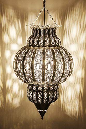 Orientalische Lampe Pendelleuchte Silber Isfahan 50cm E27