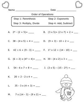 Order Of Operations Worksheet Valentine S Day Theme Order Of Operations Pemdas Worksheets Basic Math Worksheets