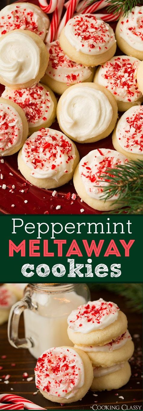 Peppermint Meltaway Cookies - these cookies are so delicious! Melt-in-your-mouth tender and delicious festive flavor. Perfect for Christmas cookie! #christmas #cookies #dessert via @cookingclassy