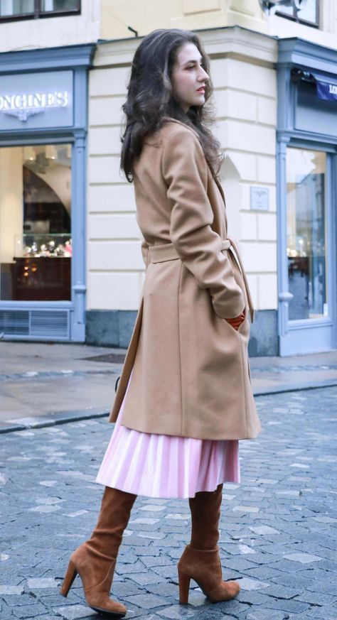 5a744eecdfa Fashion Blogger Veronika Lipar of Brunette from Wall Street wearing ESCADA  wrap camel coat