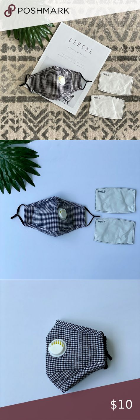 Black and White Houndstooth Cloth Face Mask Filter Brand New includes washable mask + 2 filters with valve Adjustable ear strap and nose pinch design Other
