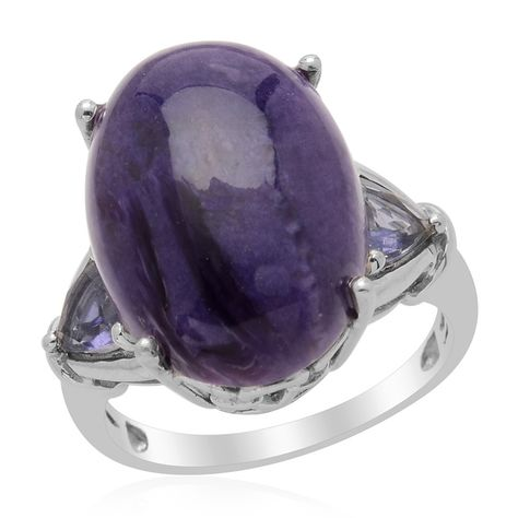 Liquidation Channel: Siberian Charoite and Iolite Ring in Platinum Overlay Sterling Silver (Nickel Free)
