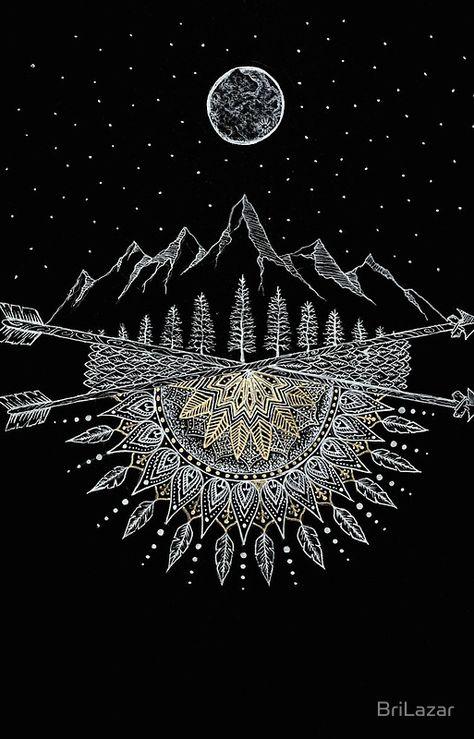 Moon and Stars Night Sky Mountain Range Arrow Mandala