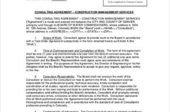 Sample Construction Consulting Agreement Agree Rental