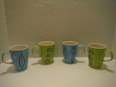 Ad Ebay Url Set Of 4 Hues N Brews 10 Oz Blue Green Coffee Tea Mugs Cup Geometric Look Unused Green Coffee Tea Mugs Mugs
