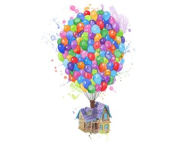 Adventure Is Out There Up House Balloon Disney Sublimation Watercolor Digital Png Balloon House Disney Up Up Balloons