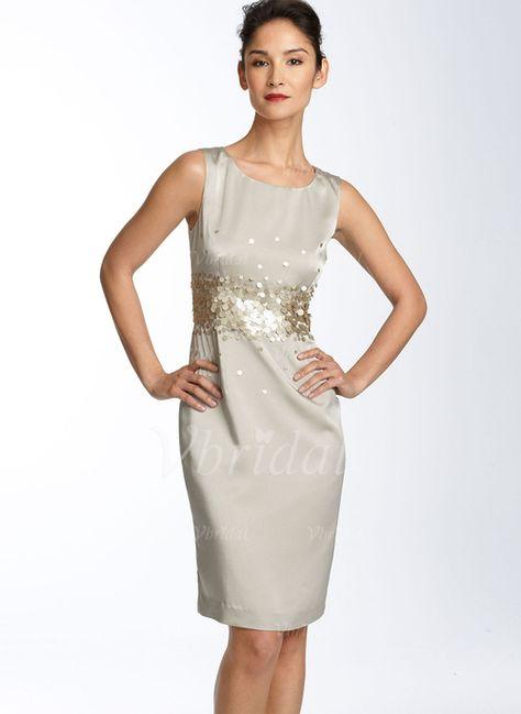 Robes de mère de la mariée - $106.98 - Forme Fourreau Col rond Longueur genou Satiné Robe de mère de la mariée avec Sequins (00805006733)