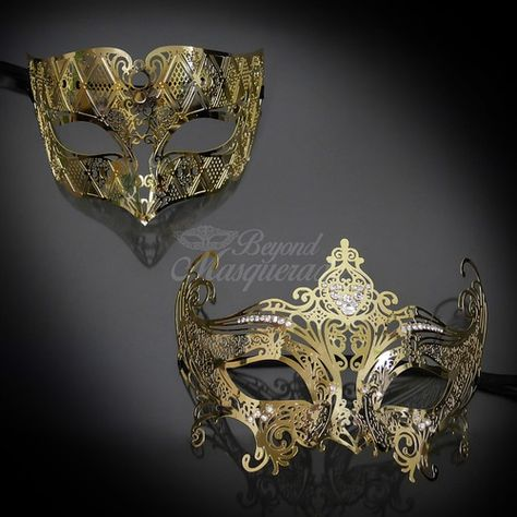 Luxury Black Gold Couple Masks Pair King /& Queen Party Venetian Masquerade Mask