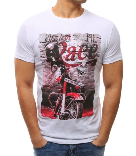 754f730a5ad0 Pánske biele tričko s potlačou