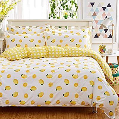 Ktlrr 100 Cotton Fresh Yellow Lemons Bedding Set Twin Full Queen King Size Lemon Printed Duvet Cover Set Bed Sheets Duvet Cover Sets King Size Duvet Covers