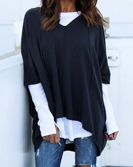 Shop Dip Hem Hooded Oversized Top right now, get great deals at pickmyboutique.