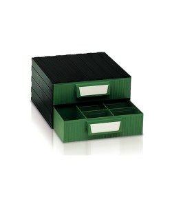 Cassetti In Plastica Componibili.Cassettiera In Plastica Componibile 2 Cassetti Verdi E 16 Vaschette