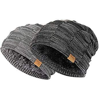 c05f0451da6 Vgogfly Slouchy Beanie for Men Winter Hats for Guys Cool Beanies Mens Lined  Knit Warm Thick Skully Stocking Binie Hat (Dark Grey Black 2pcs)