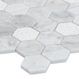 Satori Carrara 12 In X 12 In Multi Finish Natural Stone Marble Honeycomb Mosaic Wall Tile Lowes Com Mosaic Wall Tiles Wall Tiles Mosaic Wall