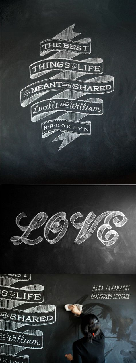 typography on chalkboard