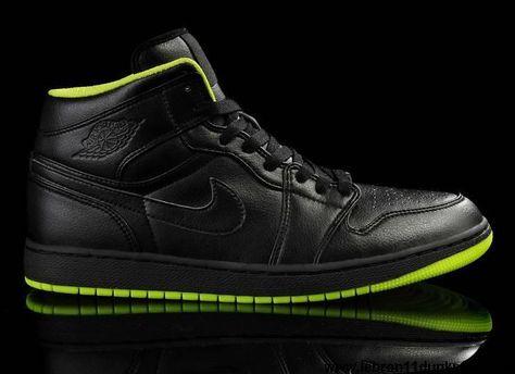 brand new e97d5 17fad Best Gift Black Neon Green Shoes Air Jordan 1 Fashion Shoes Shop