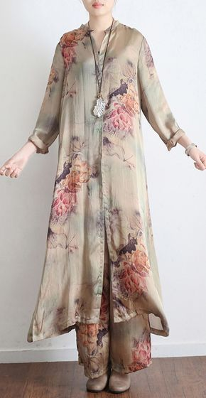 Natural nude chiffon v neck tops Indian Tutorials wide leg pants Plus Size Clothing two-pieces – OmyChic-Linen Dress – Join the world of new vintage pints silk cardigans casual loose tops and pantspideas how to wear dresses plus sizeGreat