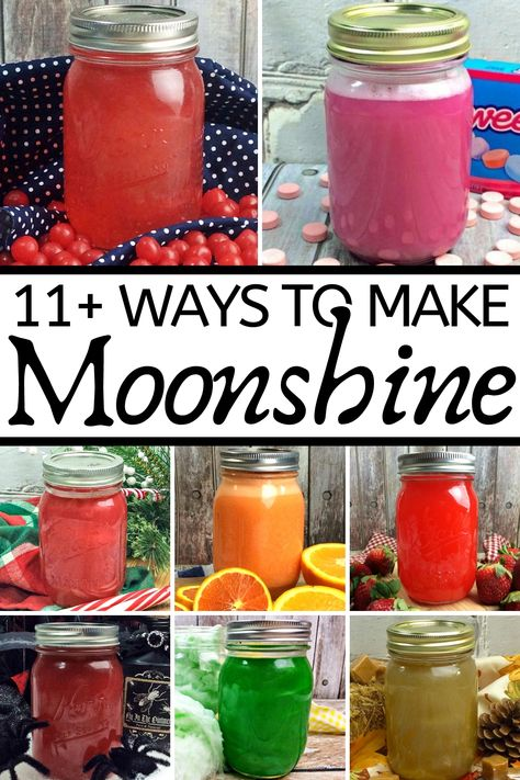 Amazing Flavored Moonshine Recipes Homemade flavored recipes to try, including apple pie moonshine, cotton candy moonshine, and more! Moonshine Recipes Homemade, Homemade Wine Recipes, Homemade Alcohol, Homemade Liquor, Moonshine Drink Recipes, Moonshine Cocktails, Wine Cocktails, Watermelon Moonshine Recipe With Everclear, Fireball Moonshine Recipe