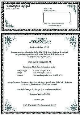 Hasil Gambar Untuk Download Undangan Aqiqah Word Documen