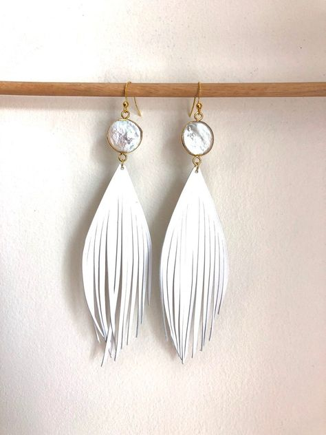 Diy Leather Feather Earrings, Lace Earrings, Feather Jewelry, Leather And Lace, White Leather, Custom Leather, Handmade Leather, Italian Leather, Leather Bags
