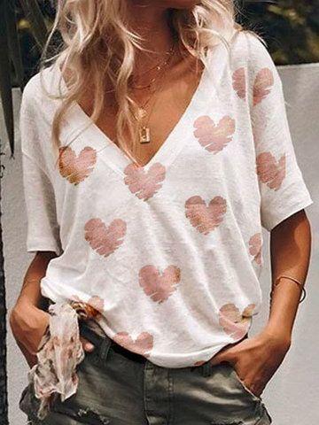 Damen Shirts Weiß T-Shirt Kurzarm Cartoon Aufdruck Printed Oberteil Tops Modern