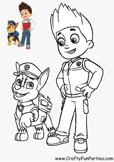 Paw Patrol Color Chase And Ryder Paw Patrol Coloring Paw Patrol Coloring Pages Paw Patrol