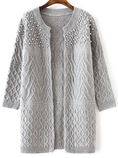 Grey Cable Knit Beaded Long Sweater Coat | SHEIN