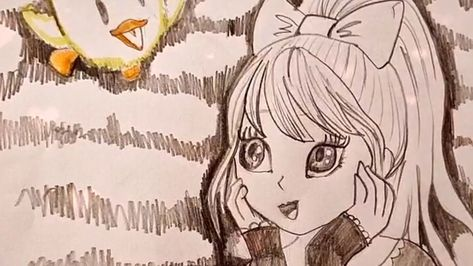 pretty girl with a bow wondering on her pet #shorts #drawing #dtaw #art #artist #anime