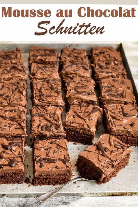 Mousse au Chocolat Schnitten - knallermäßiger Blechkuchen, der ganz einfach zu machen ist, auch für Backanfänger geeignet, vegan möglich, z.B. aus dem Thermomix