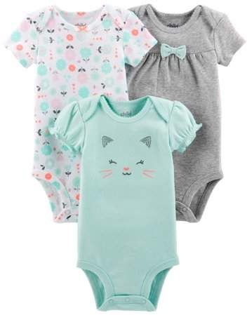 fcc030cce3c7 Carter's Child of Mine by Short Sleeve Bodysuits, 3-pack (Baby Girls ...