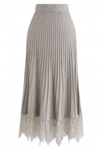 Lace Hem Pleated A-Line Knit Skirt in Sand - Skirt - BOTTOMS - Retro, Indie and Unique Fashion