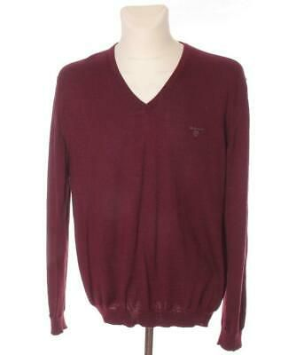 GANT MEN'S 100% Extra Fine Merino Wool BORDO RED V Neck