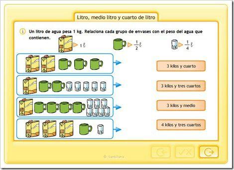 Litro Medio Litro Y Cuarto Fichas De Matematicas Estrategias De Ensenanza Matematicas Fracciones